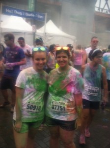 My sister, Nicole, at my second color run.