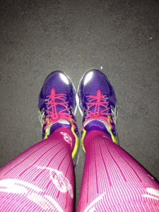 Pink socks and pink shoes are a winning combination!