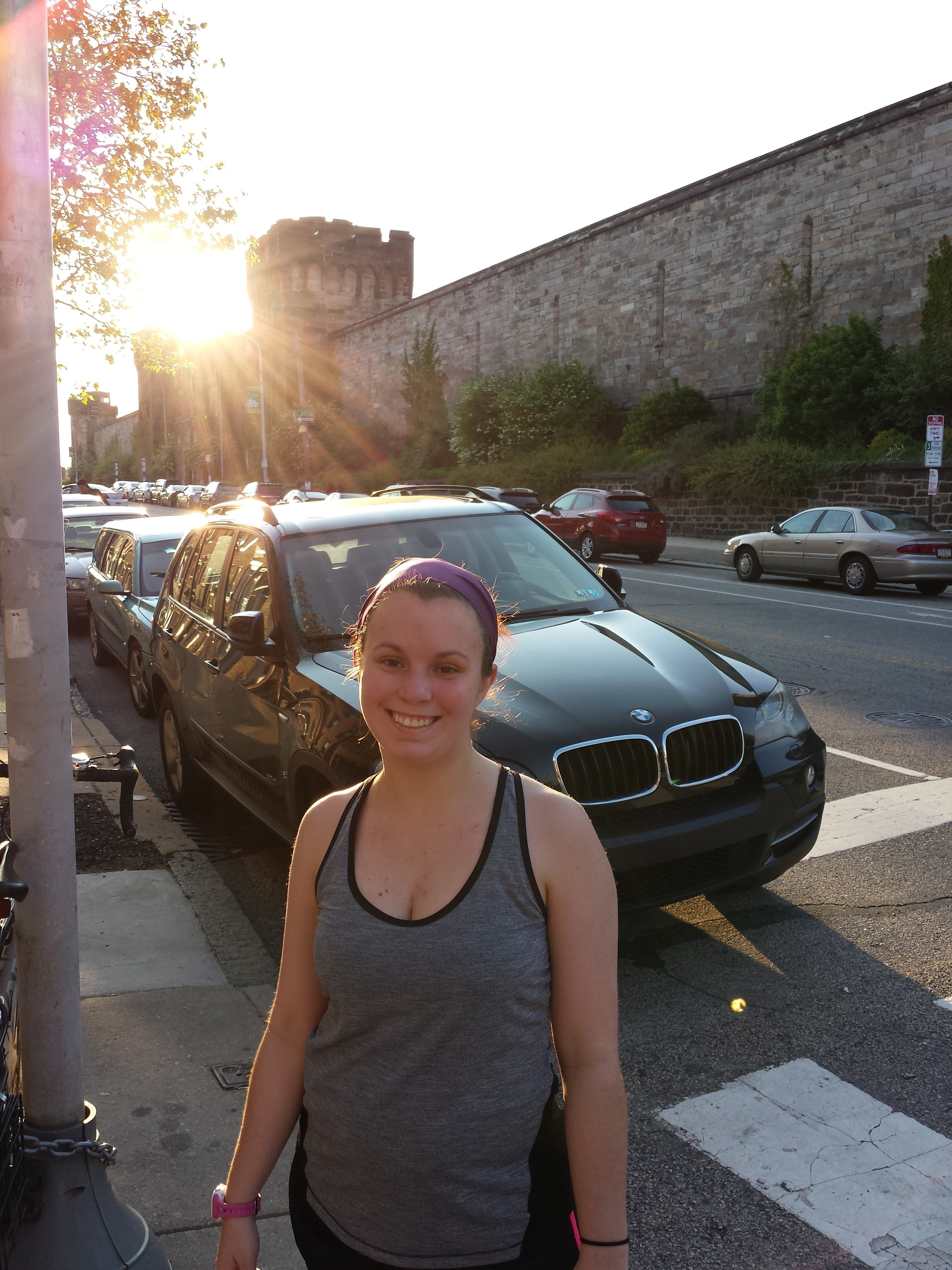 Outside Eastern State Penitentiary on our run, one of my favorite places in Philadelphia!